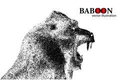 Silhouet van een baviaan van deeltjes vector illustratie