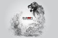 Silhouet van een baviaan van deeltjes royalty-vrije illustratie