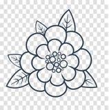 Silhouet van een bloem lineaire stijl royalty-vrije illustratie