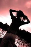 Silhouet van een dame Stock Afbeeldingen