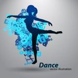 Silhouet van een dansend meisje Stock Foto's