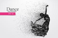 Silhouet van een dansend meisje van deeltje Dansersvrouw Royalty-vrije Stock Afbeeldingen