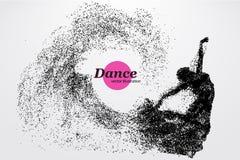 Silhouet van een dansend meisje van deeltje Dansersvrouw Royalty-vrije Stock Afbeelding