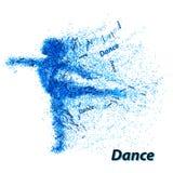 Silhouet van een dansend meisje van deeltjes Stock Foto