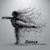 Silhouet van een dansend meisje van deeltjes Royalty-vrije Stock Afbeeldingen