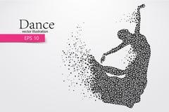Silhouet van een dansend meisje van driehoek Dansersvrouw Stock Fotografie