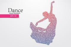 Silhouet van een dansend meisje van driehoek Dansersvrouw Stock Afbeelding