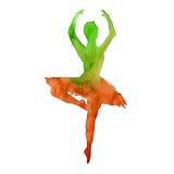 Silhouet van een danser ballet watercolor Stock Afbeelding