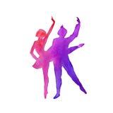 Silhouet van een danser ballet watercolor Stock Foto's