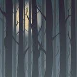 Silhouet van een de winterbos bij nacht, maanlichtbomen op de achtergrond Achtergrond voor groetkaart en uitnodigingen Royalty-vrije Stock Fotografie