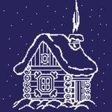 Silhouet van een de winterhuis, hut in de sneeuwbanken door vierkanten, pixel worden getrokken dat Vector illustratie stock illustratie