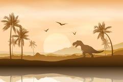 Silhouet van een dinosaurus op riverbankachtergrond vector illustratie
