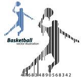 Silhouet van een een basketbalspeler en streepjescode Stock Afbeeldingen