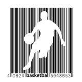 Silhouet van een een basketbalspeler en streepjescode Royalty-vrije Stock Foto's