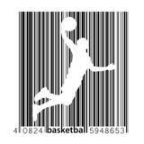 Silhouet van een een basketbalspeler en streepjescode Royalty-vrije Stock Afbeeldingen