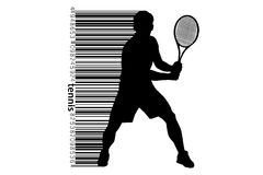 Silhouet van een een tennisspeler en streepjescode Royalty-vrije Stock Fotografie