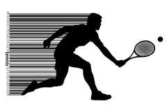 Silhouet van een een tennisspeler en streepjescode Royalty-vrije Stock Foto's