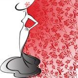 Silhouet van een elegante dame Stock Fotografie