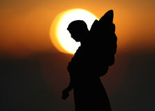 Silhouet van een Engel stock foto's