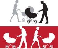 Silhouet van een familie met een babywandelwagen royalty-vrije illustratie