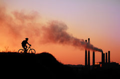 Silhouet van een fietser Royalty-vrije Stock Foto