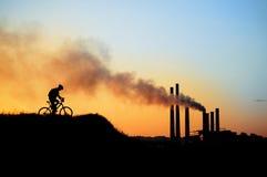Silhouet van een fietser Royalty-vrije Stock Fotografie