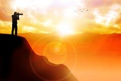 Silhouet van een fotograaf die beeld van mooie landsca nemen vector illustratie