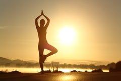 Silhouet van een geschiktheidsvrouw die de oefening van de yogameditatie uitoefenen stock fotografie