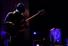 Silhouet van een gitarist Royalty-vrije Stock Afbeelding