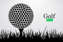 Silhouet van een golfbal Vector illustratie stock illustratie