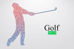 Silhouet van een golfspeler Vector illustratie Stock Afbeeldingen