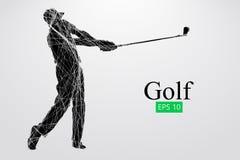 Silhouet van een golfspeler Vector illustratie royalty-vrije illustratie