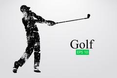 Silhouet van een golfspeler Vector illustratie vector illustratie
