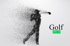 Silhouet van een golfspeler Vector illustratie Stock Foto's