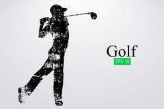 Silhouet van een golfspeler Vector illustratie stock illustratie