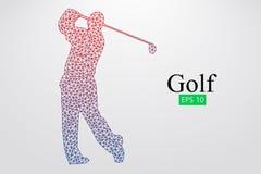 Silhouet van een golfspeler Vector illustratie Stock Foto