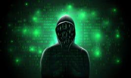 Silhouet van een hakker in een kap met binaire code inzake een lichtgevende groene achtergrond, het binnendringen in een beveilig stock illustratie