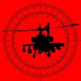 Silhouet van een helikopter in het gezicht van de raketlanceerinrichting Stock Fotografie