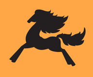 Silhouet van een het lopen paard Stock Foto's
