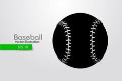 Silhouet van een honkbalbal Vector illustratie Stock Fotografie