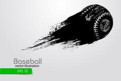 Silhouet van een honkbalbal Vector illustratie Stock Afbeeldingen