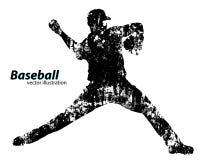 Silhouet van een honkbalspeler Stock Afbeeldingen
