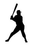 Silhouet van een honkbalspeler Stock Afbeelding