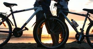 Silhouet van een houdend van paar bij zonsondergang Stock Afbeeldingen
