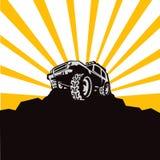 Silhouet van een jeep royalty-vrije illustratie