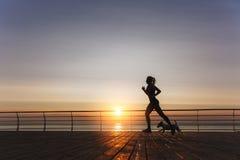 Silhouet van een jong mooi atletisch meisje met lang blond Ha stock afbeelding