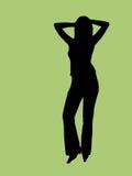 Silhouet van een jonge vrouw Stock Foto
