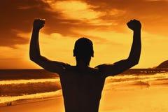 Silhouet van een kampioen bij zonsondergang stock afbeelding