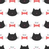 Silhouet van een katten` s hoofd, boog, tekstmiauw! Naadloos patroon Stock Foto's