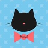 Silhouet van een katten` s hoofd, boog, tekstmiauw! Naadloze achtergrond royalty-vrije illustratie